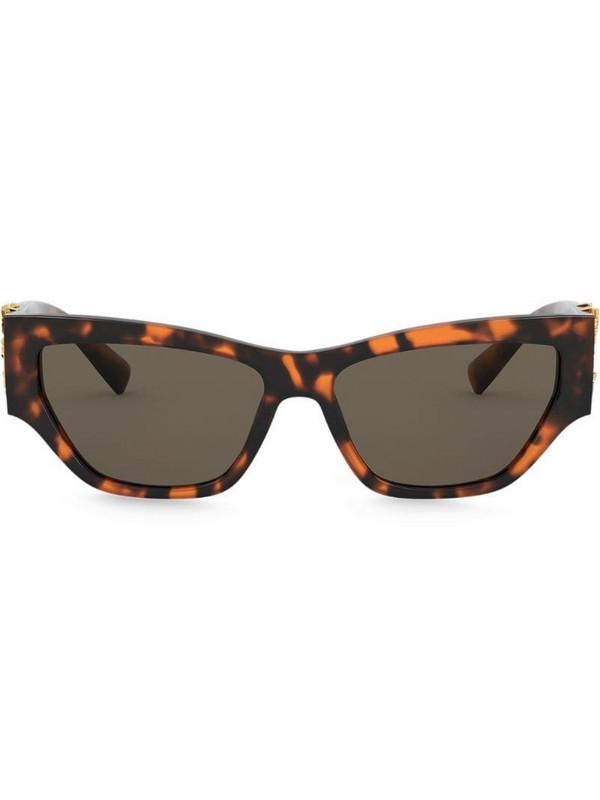 Versace Eyewear Virtus plaque rectangular-frame sunglasses in brown