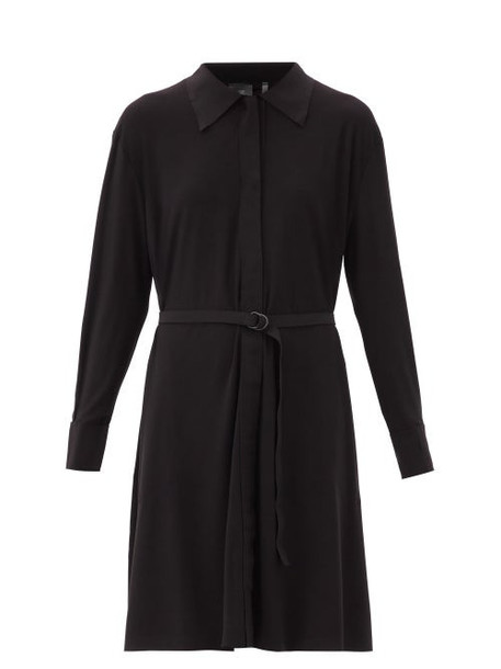 Norma Kamali - Boyfriend Belted Jersey Shirt Dress - Womens - Black
