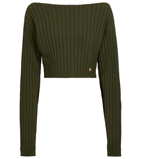 Balmain Cropped wool-blend sweater in green