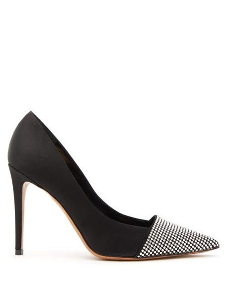 Alexandre Vauthier - Michelle Crystal Embellished Satin Pumps - Womens - Black