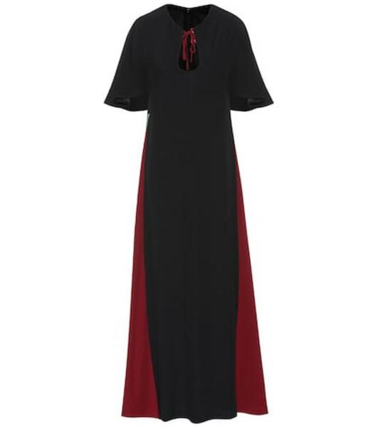 Staud Crêpe satin maxi dress in black