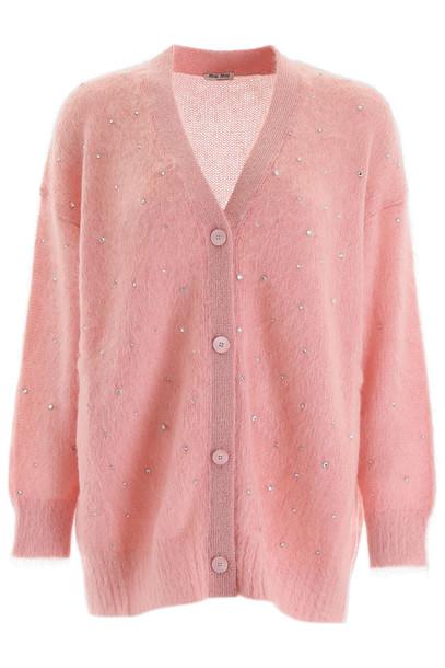 Miu Miu Crystal-embellished Cardigan in pink