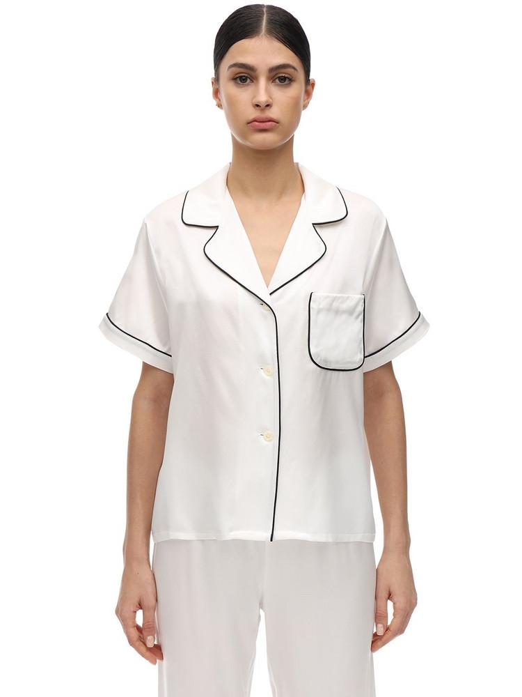 MORGAN LANE Katelyn Silk Charmeuse Pajama Top in white