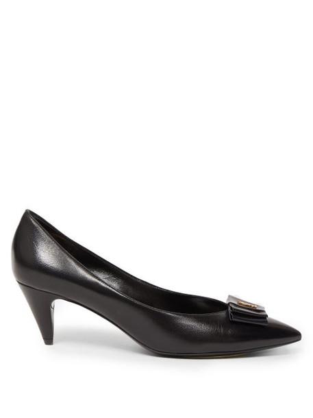 Saint Laurent - Anaïs Ysl-bow Leather Pumps - Womens - Black