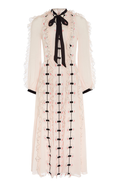 Temperley London Cloudburst Long Sleeve Dress in pink