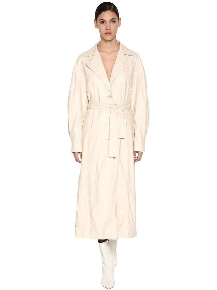 DROME Long Crackled Leather Trench Coat in ivory