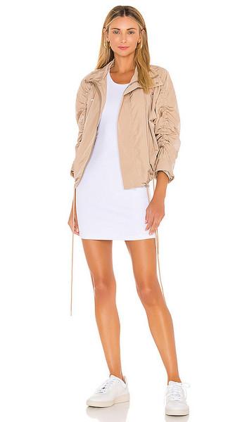 NSF Aya Mock Neck Jacket in Tan in beige