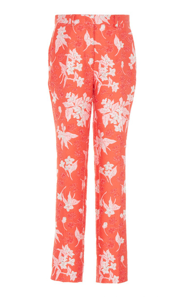 DELPOZO Floral-Jacquard Slim-Leg Pants Size: 34 in red