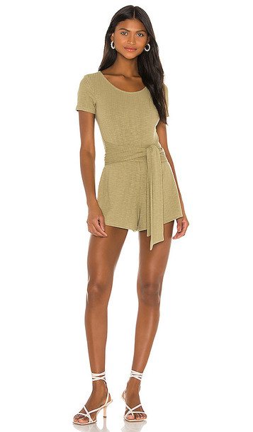 Privacy Please Madison Romper in Olive in green