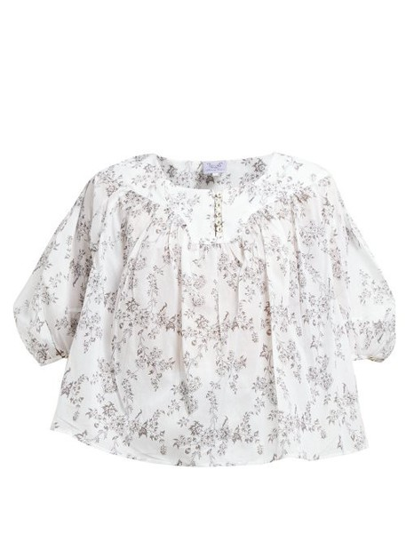 Thierry Colson - Gathered Floral Print Cotton Poplin Blouse - Womens - Black Multi