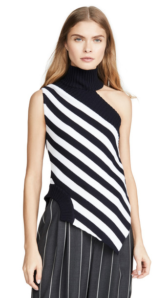 Monse One Shoulder Striped Turtleneck Top in midnight / ivory