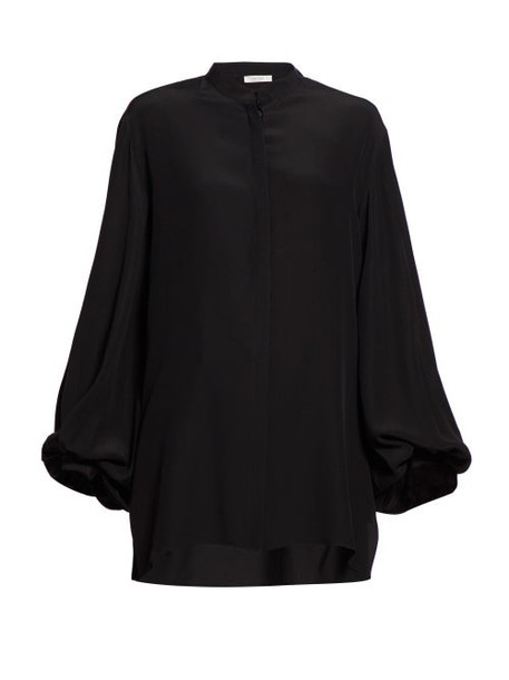 The Row - Vara Balloon Sleeve Crepe Blouse - Womens - Black