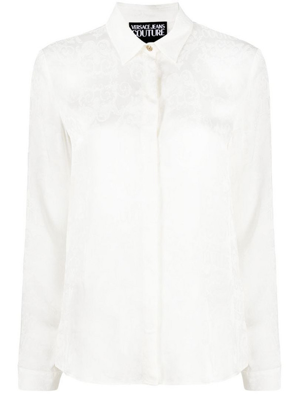 Versace Jeans Couture Logo Baroque-pattern shirt in white