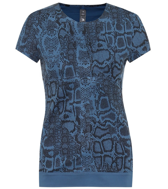 Adidas by Stella McCartney Snake-printed technical T-shirt in blue
