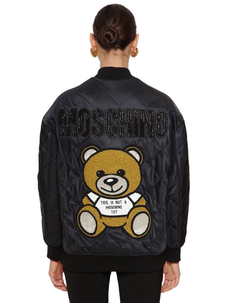 MOSCHINO Quilted Bomber Jacket in black