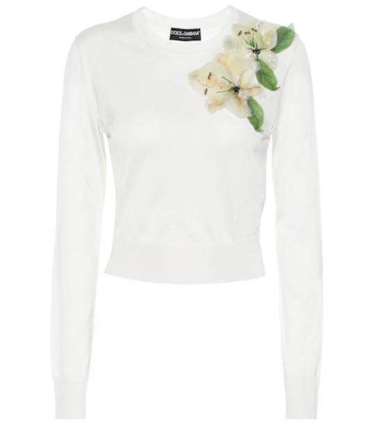Dolce & Gabbana Embellished silk sweater in white