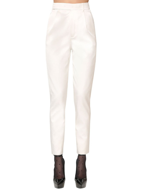 SAINT LAURENT High Waist Silk Blend Satin Pants in white