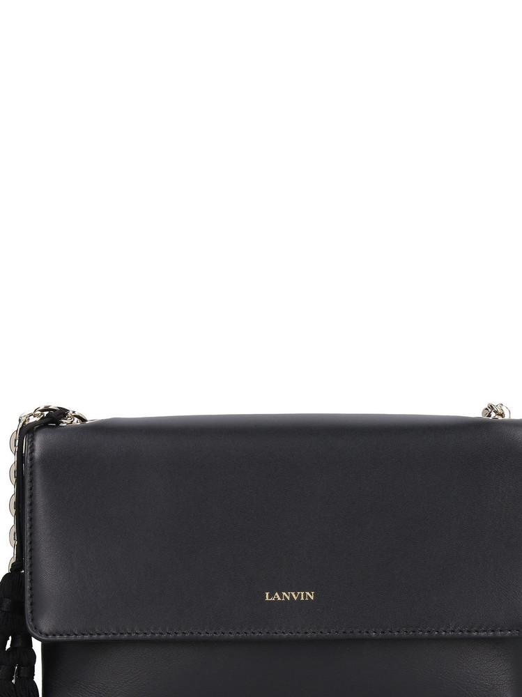 Lanvin Sugar Leather Shoulder Bag in black