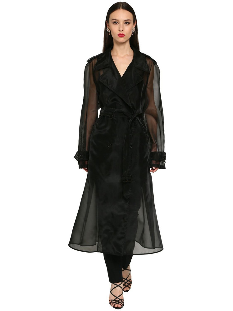 DOLCE & GABBANA Double Breast Sheer Organza Trench Coat in black