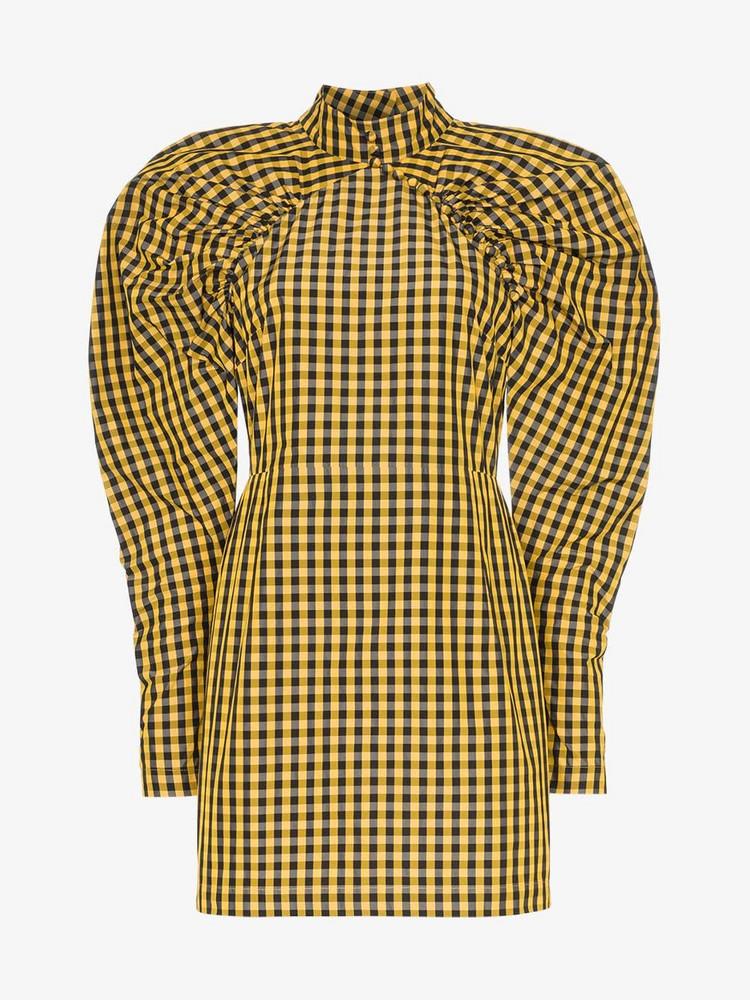 Rotate high neck gingham mini dress in yellow