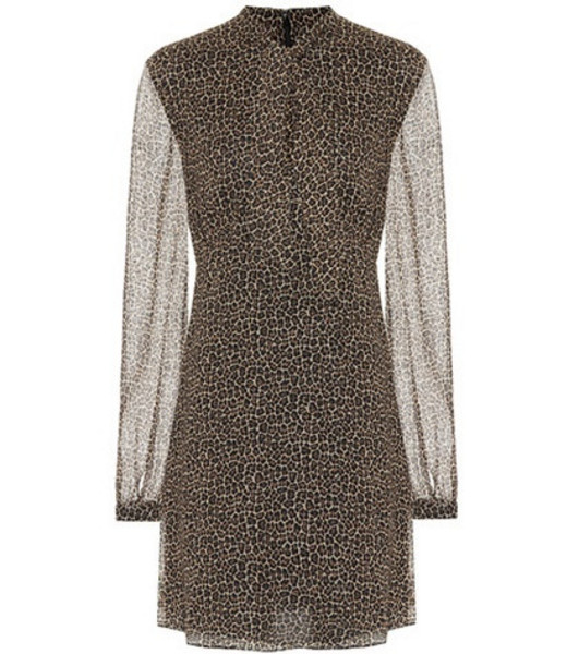 Saint Laurent Leopard virgin wool minidress in brown