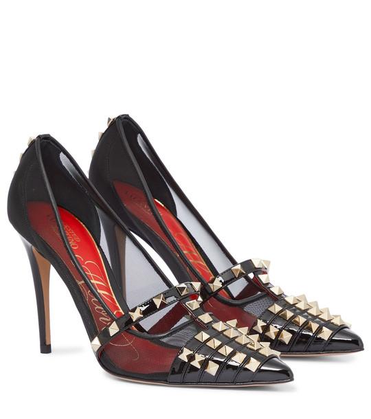 Valentino Garavani Rockstud Alcove embellished mesh pumps in black