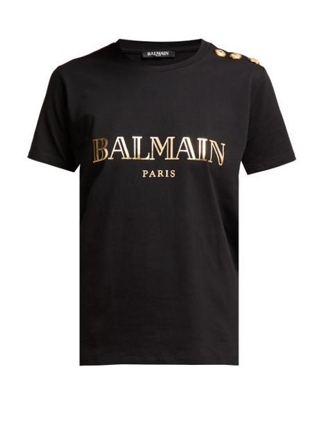 Balmain - Logo Print Cotton T Shirt - Womens - Black Gold