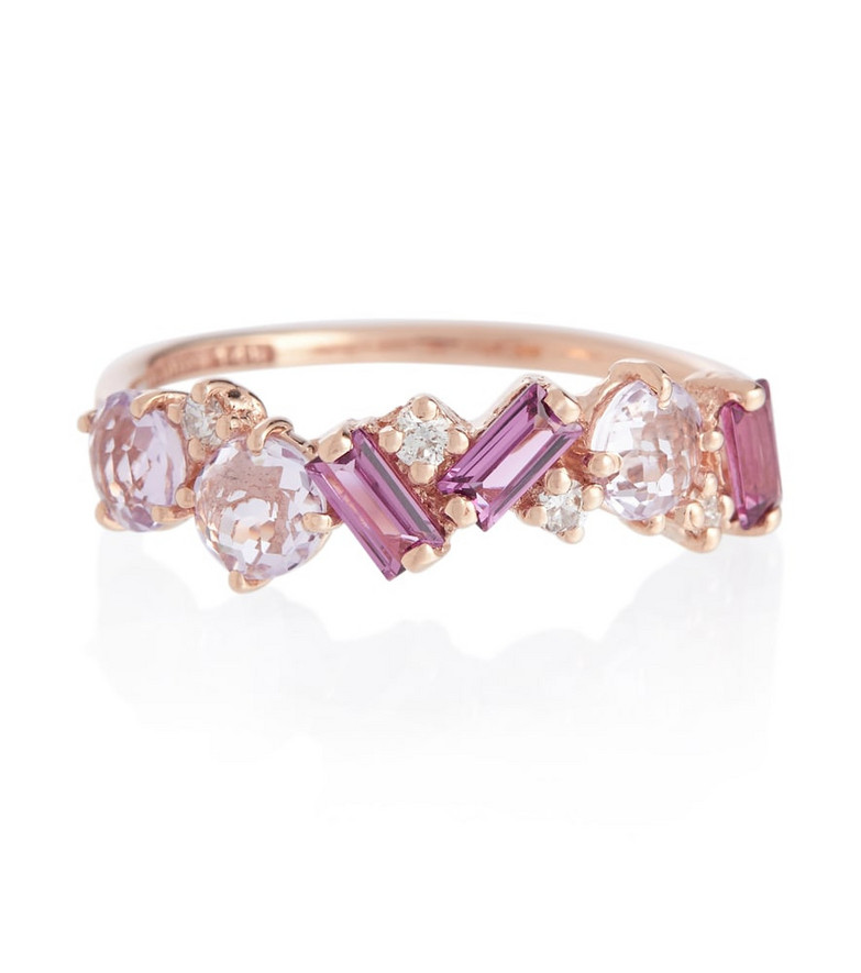 Suzanne Kalan Amalfi 14kt rose gold ring with diamonds, rhodolite and amethyst in purple