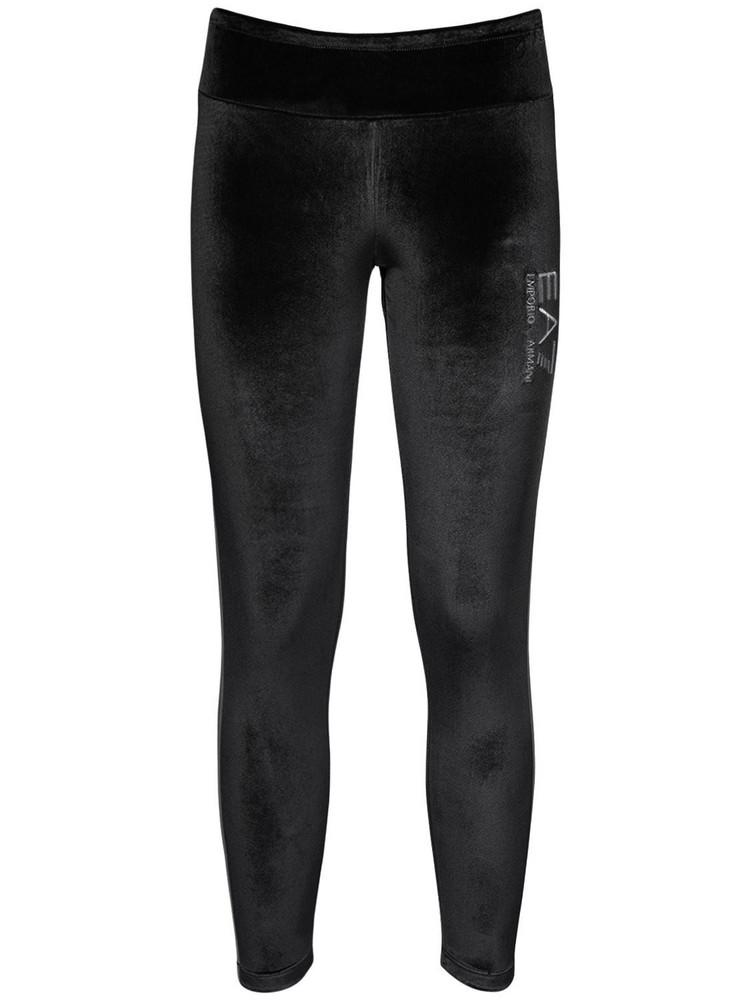 EA7 EMPORIO ARMANI Logo Velour Sweatpants in black
