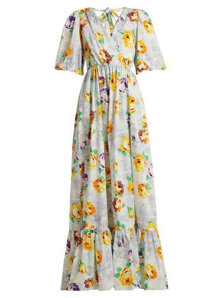 Msgm - Floral Print Cotton Dress - Womens - White Multi