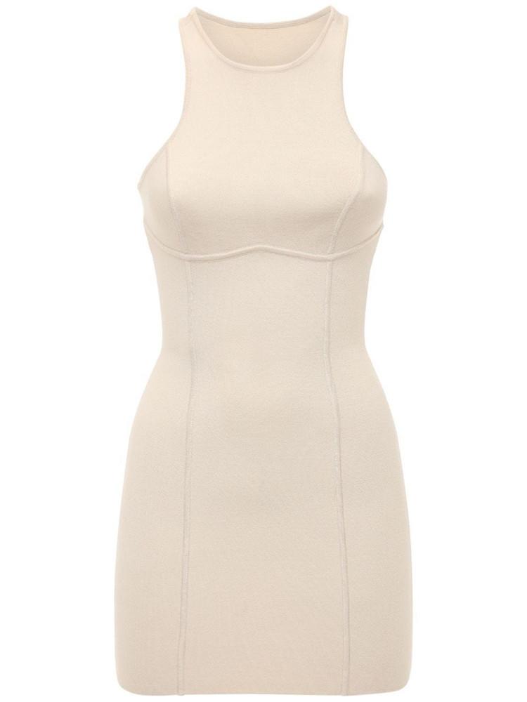 ZEYNEP ARCAY Halter Sleeveless Knit Mini Dress in beige