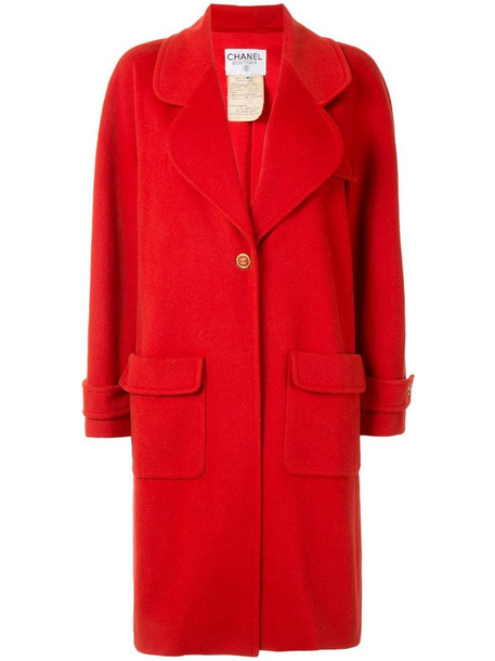 Chanel Pre-Owned cashmere 1994 single-breasted coat in red