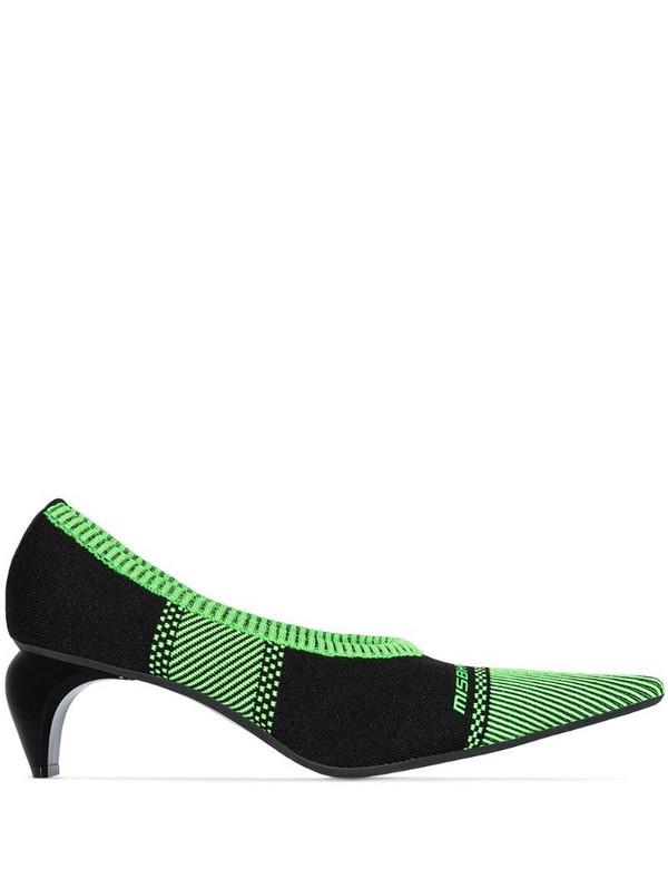 MISBHV striped knit sock pumps in black