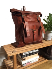 bag,brown leather backpack