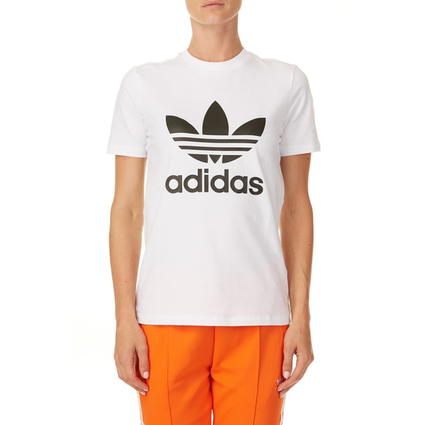 Adidas Trefoil Stretch Cotton T-shirt in white