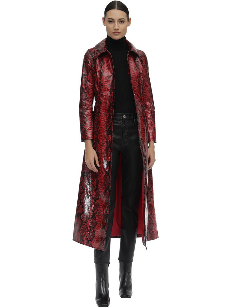 STAND Mia Printed Faux Leather Trench Coat in red