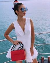dress,white dress,mini dress,v neck dress,bag