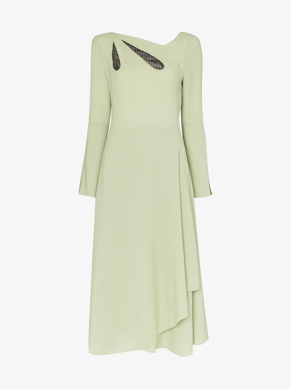 Roland Mouret Oreti cutout detail asymmetric wool dress in green