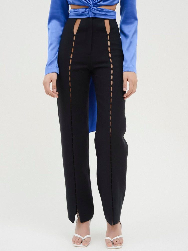 MATÉRIEL High Waist Twill Pants W/ Front Cutouts in black