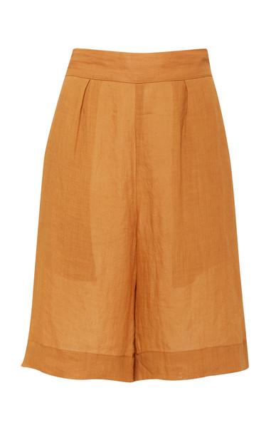 Anemone Highwaist Board Short In Fine Gauge Ramie Linen in orange