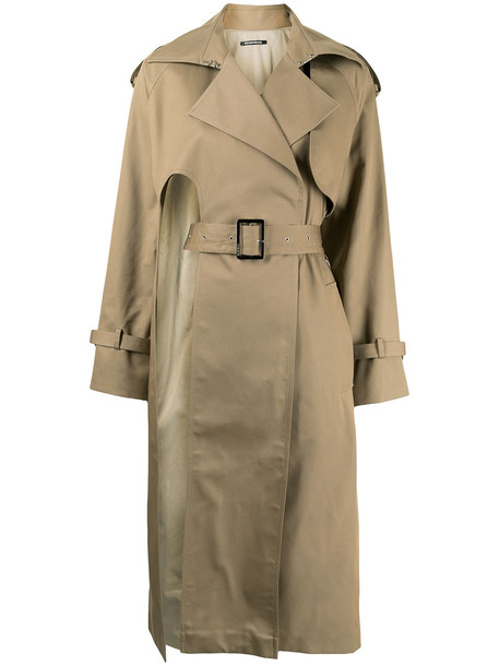 Boyarovskaya cut-out detail trench coat - Neutrals