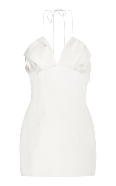 Jacquemus Bambino Linen Mini-Dress in white