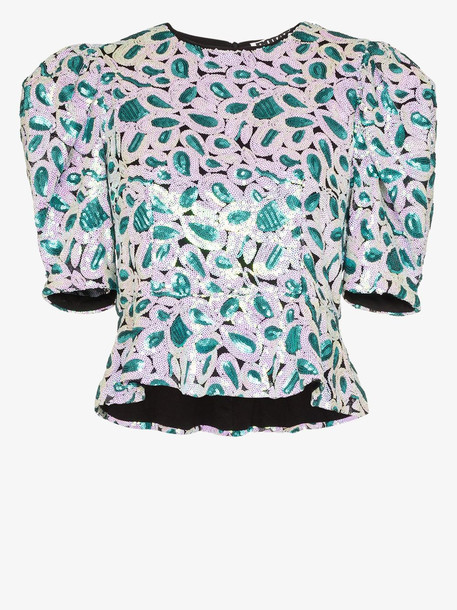 ROTATE christina sequin embellished top in green