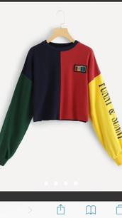 sweater,retro,yellow,red,blue,green,cropped,crop,cropped sweater