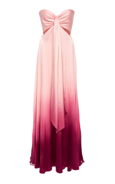 Jonathan Simkhai Ombre Satin Cutout Bustier Gown Size: 0 in purple