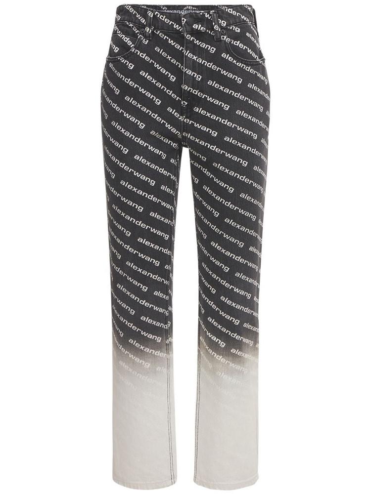ALEXANDER WANG Allover Logo Gradient Slim Denim Jeans in grey