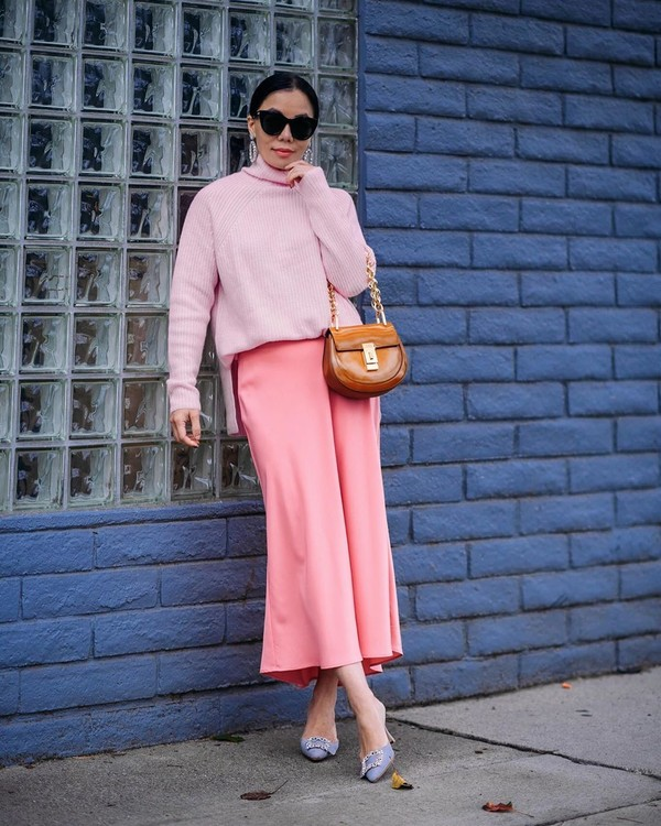 skirt mini skirt midi skirt satin pink skirt mules brown bag