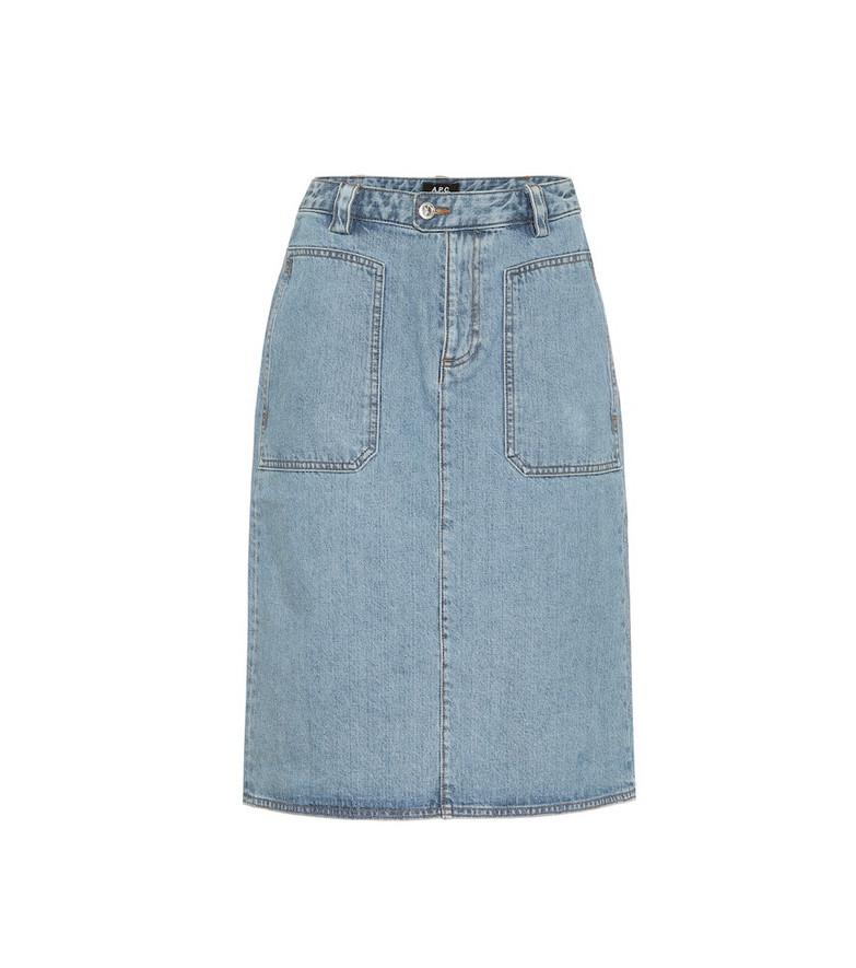 A.P.C. Nevada denim midi skirt in blue
