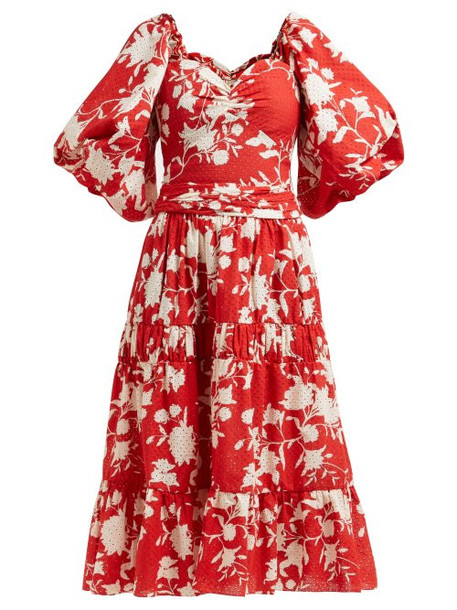 Johanna Ortiz - Beautiful Chaos Tiered Floral Print Cotton Dress - Womens - Red Multi