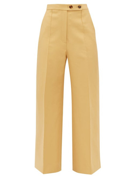 Khaite - Yasmin Wide Leg Cotton Trousers - Womens - Beige